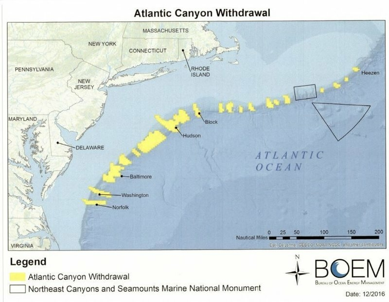 This map shows the Atlantic areas that have been designated off-limits to oil and gas explorations and development activity.