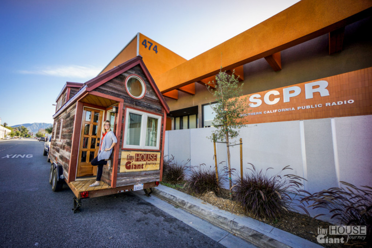 Jenna Spesard with her tiny house outside KPCC.