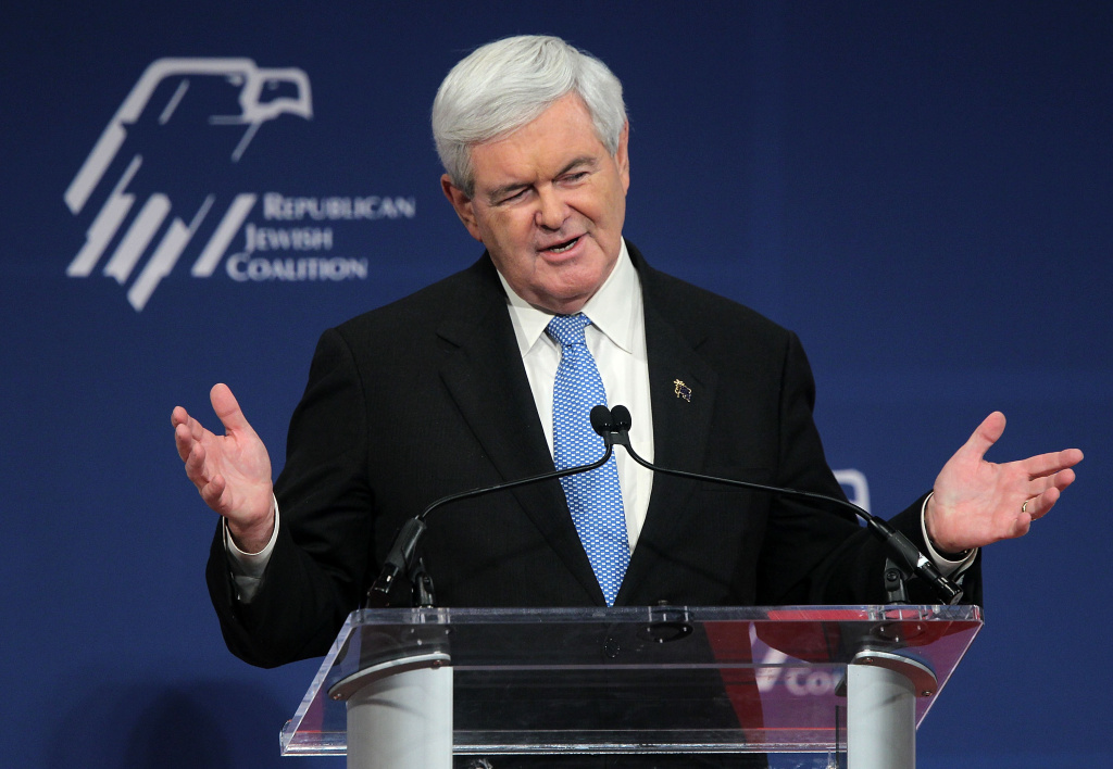 Republican Presidential hopeful and former speaker of the House Newt Gingrich (R-GA) speaks at the Republican Jewish Coalition 2012 Presidential Candidates Forum December 7, 2011 at the Ronald Reagan Building and International Center in Washington, DC. The national polls show Gingrich is leading among other GOP candidates.