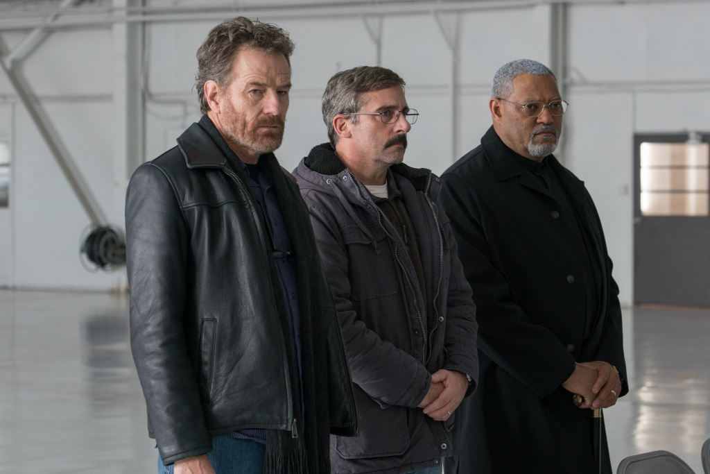 (L-R): Bryan Cranston, Steve Carell and Laurence Fishburne in Richard Linklater's