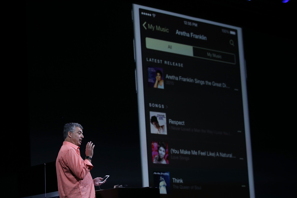 Apple's senior vice president of Internet Software and Services Eddy Cue speaks about Apple Music during Apple WWDC on June 8, 2015 in San Francisco, California.