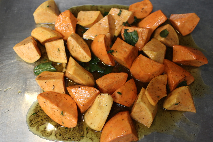 Suzanne Goin's sweet potatoes with Romesco sauce