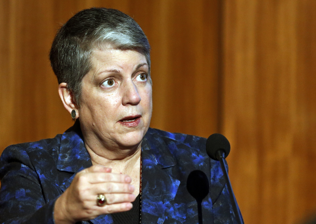 In this Oct. 27, 2015, photo, Janet Napolitano, president of the University of California, speaks at the Carbon Neutrality Initiative at the University of California, San Diego.