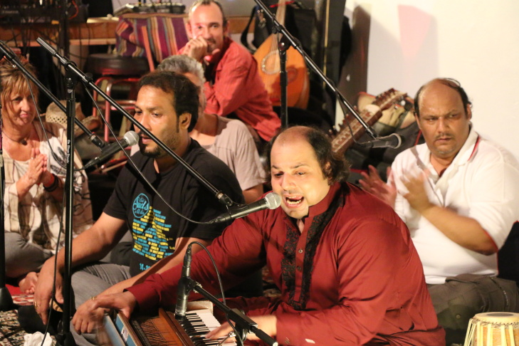 One highlight of Rizwan Muazzam Qawwali's residency in Los Angeles was a show at Grand Performances in downtown Los Angeles.