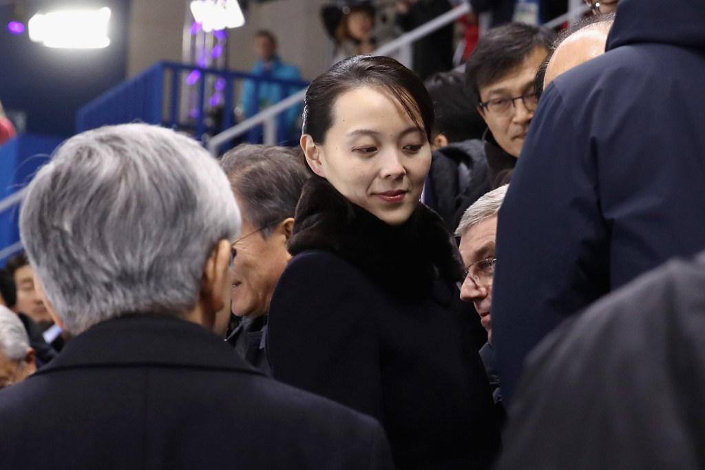 Kim Yo-jong, sister of North Korean leader Kim Jong-un, attends the Women's Ice Hockey game between Switzerland and Korea on the first day of the PyeongChang 2018 Winter Olympic Games on February 10, 2018 in Gangneung, South Korea.