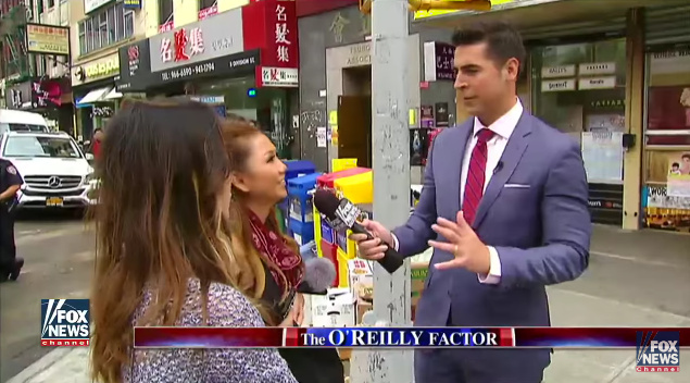 Screenshot of the segment by Fox News' Jesse Watters filmed in Chinatown.
