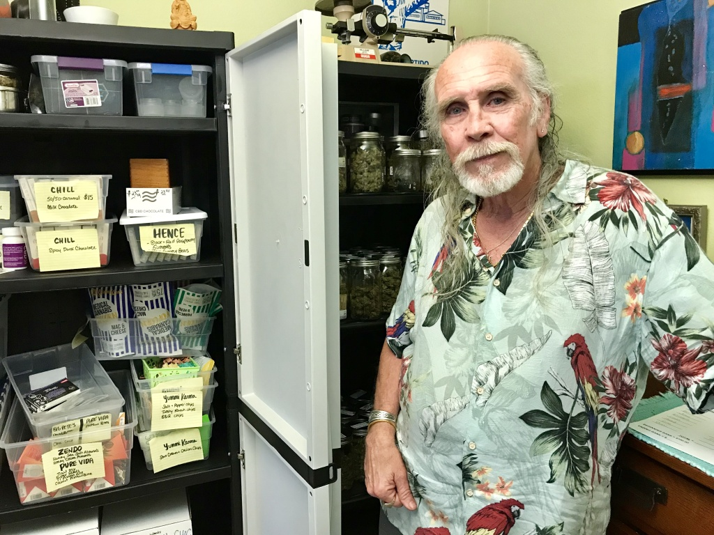 Lonnie Painter, founder and director of the Laguna Woods Medical Cannabis Collective, at his home in Laguna Woods, April 11, 2018.