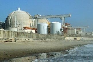View of the San Onofre Nuclear Power Plant on the Pacific Ocean border of San Diego and Orange counties. The plant has been shutdown since January 31, 2012 after a radioactive steam leak and inspections which revealed accelerated wear on steam generator tubes.