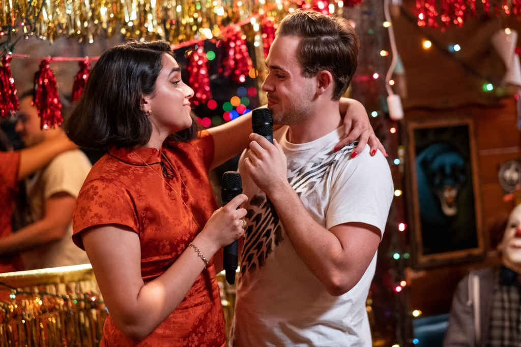 Dacre Montgomery (right) and Geraldine Viswanathan in