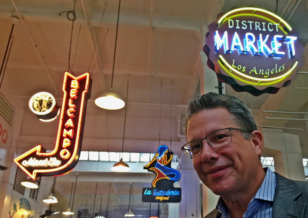 Writer Jesse Katz at downtown LA's 99-year old Grand Central Market, now laboring under a massive debt and under the shadow of a discrimination lawsuit, as Katz details in Los Angeles Magazine.