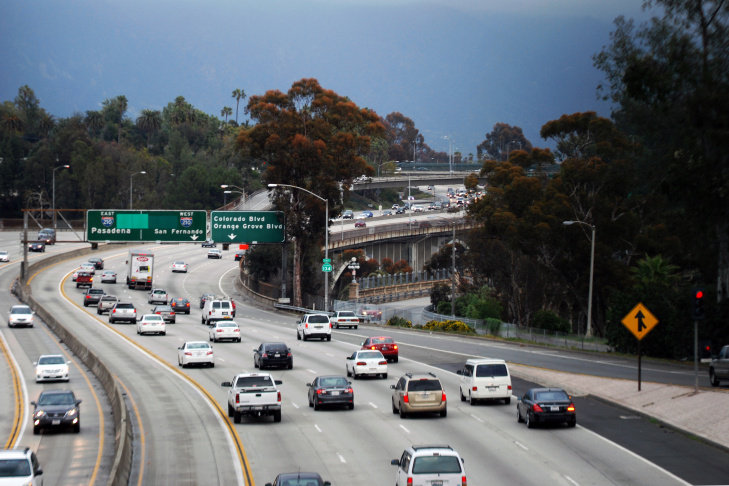 Vehicles travel eastbound along State Route 134 between Glendale and Pasadena, Calif., on Feb. 19, 2013.