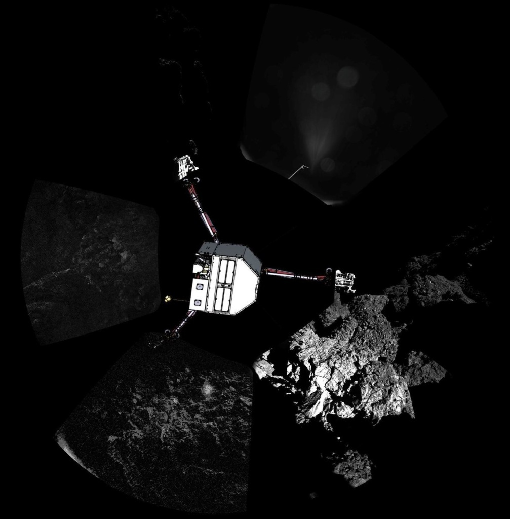 The ESA released this composite panoramic image showing Philae's surroundings on Comet 67P. To illustrate the lander's orientation, the agency superimposed a sketch of the craft.