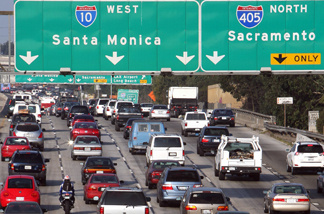 Cars congest the 10 Highway in Los Angeles, in this file photo.