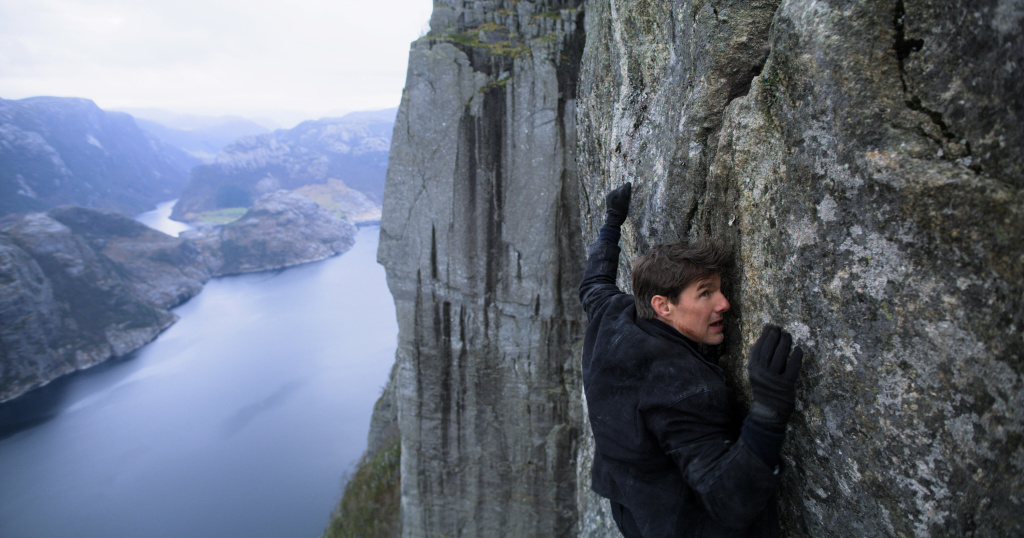 Tom Cruise as Ethan Hunt in <em>Mission Impossible — Fallout. </em>In this scene, he has just flown a helicopter from a medical camp in Kashmir.