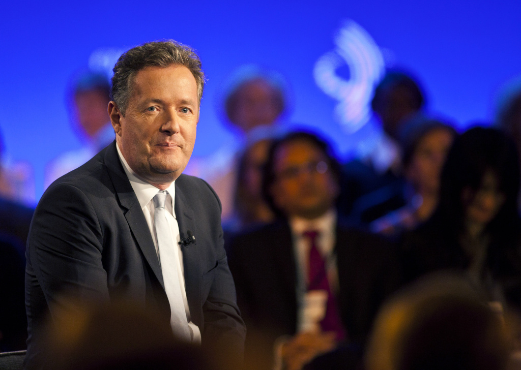 In this file photo, Piers Morgan speaks during a taping of CNN's Piers Morgan Tonight at the annual Clinton Global Initiative (CGI) meeting on September 25, 2013 in New York City. CNN said Sunday that its primetime talk show