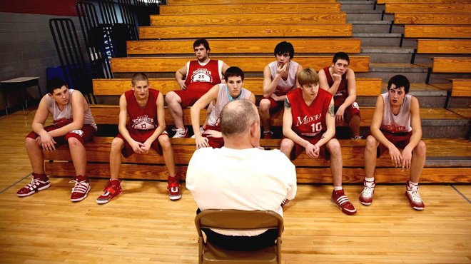 Assistant coach Rudie Crain with the Medora High School basketball team.