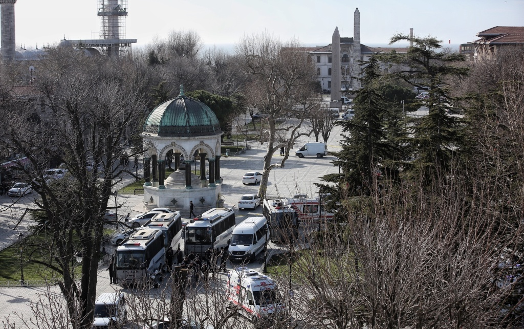Ambulances and police are seen at the blast site after an explosion in Istanbul's central Sultanahmet district. At least 10 people were killed and 15 wounded in a suicide bombing near tourists in central Istanbul's historic Sultanahmet district.