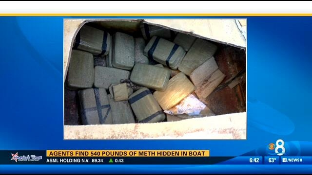 Screenshot of CBS 8 news in San Diego shows the 540 pounds of meth seized off the California Coast in February 2014.