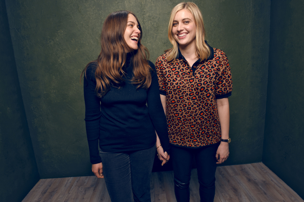 Actresses Lola Kirke (L) and Greta Gerwig from