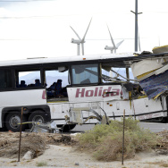 APTOPIX Fatal Tour Bus Crash