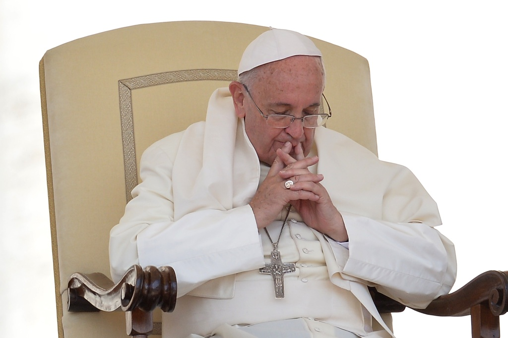 File: Pope Francis is pictured during his weekly general audience at St Peter's square on June 17, 2015 at the Vatican.