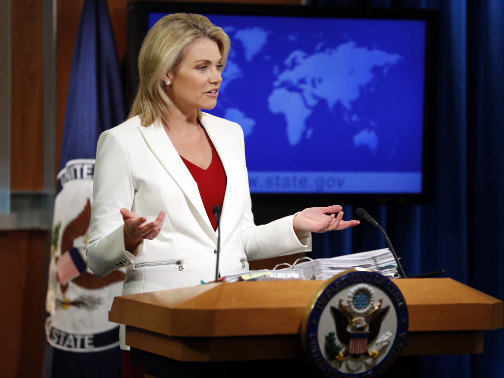 State Department spokeswoman Heather Nauert speaks during a briefing on Aug. 9, 2017. President Trump is expected to announce Friday his nomination of Nauert as the next ambassador to the United Nations.