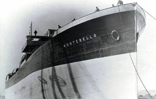 On December 23, 1941, the S.S. Montebello was torpedoed by a Japanese submarine off the coast of Cambria, California, sinking the 8,272 ton tanker carrying three million gallons of crude oil that may still be in its holds.