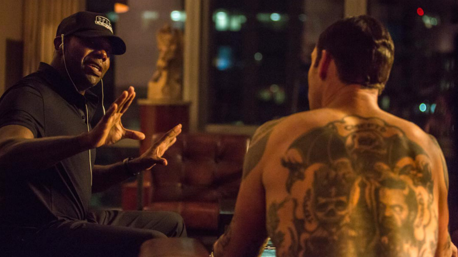 Director Antoine Fuqua (left) on the set of 'The Equalizer'