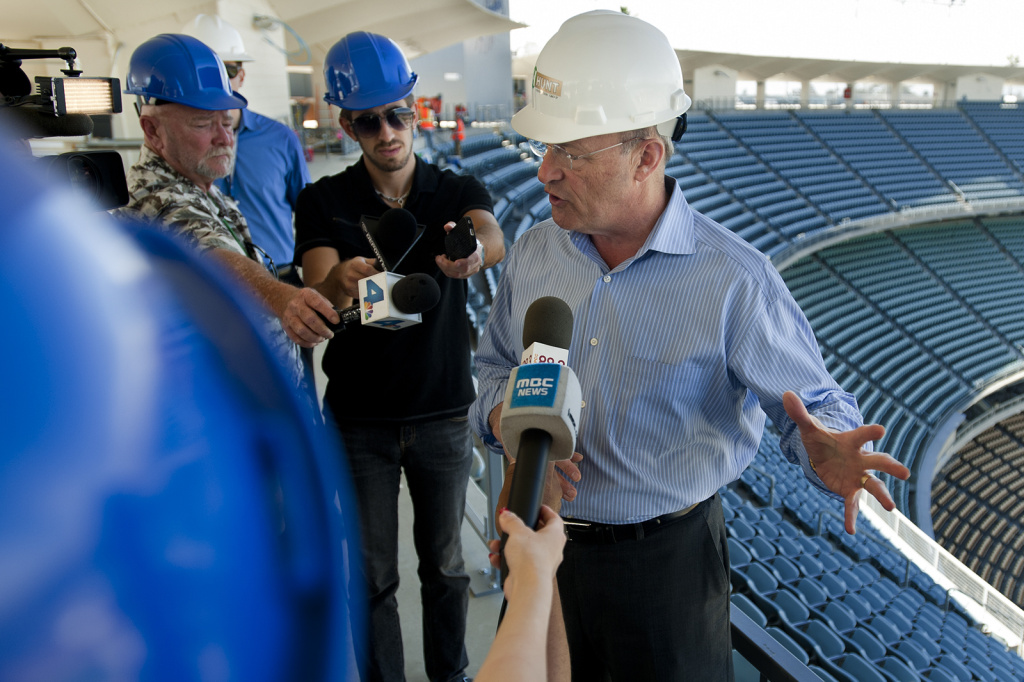 Los Angeles Dodgers president Stan Kasten speaks during a media preview of the off-season renovations at Dodger Stadium on Thrusday, March 14.