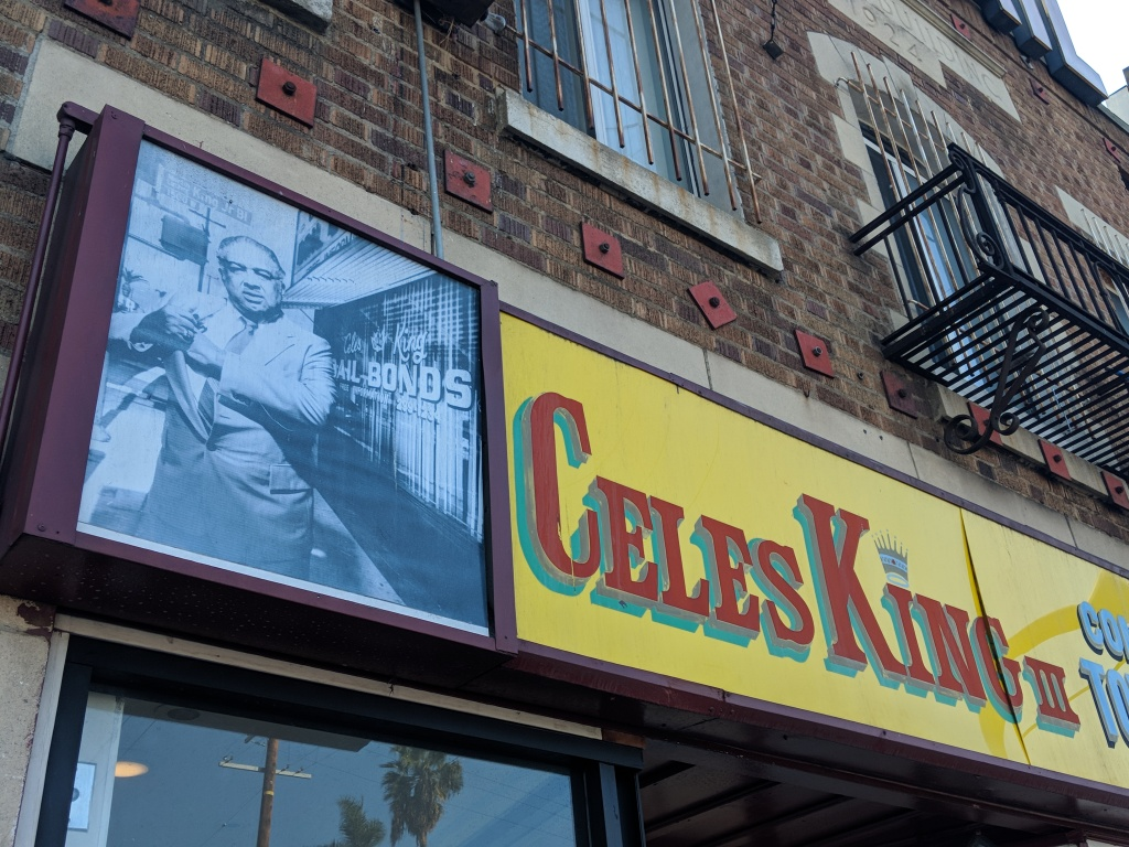Celes King III's bail bonds business is located at the corner of MLK Blvd and Denker Av, where it's been converted into a community hall featuring his name and picture.
