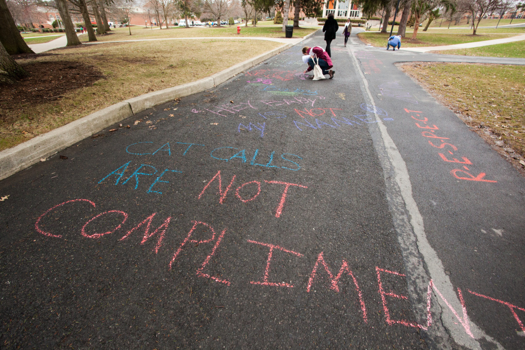 Selinsgrove, PA (April 4, 2014) -- The Susquehanna University Women's Studies Program held its second annual Chalk the Walk event for International Anti-Street Harassment Week. Students and faculty wrote anti-street harassment messages in chalk on the main walkway through campus.