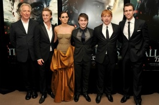 Alan Rickman, Tom Felton, Emma Watson, Daniel Radcliffe, Rupert Grint and Matthew Lewis attend the New York premiere of 'Harry Potter And The Deathly Hallows: Part 2' at the Lincoln Center on July 11, 2011 in New York City.