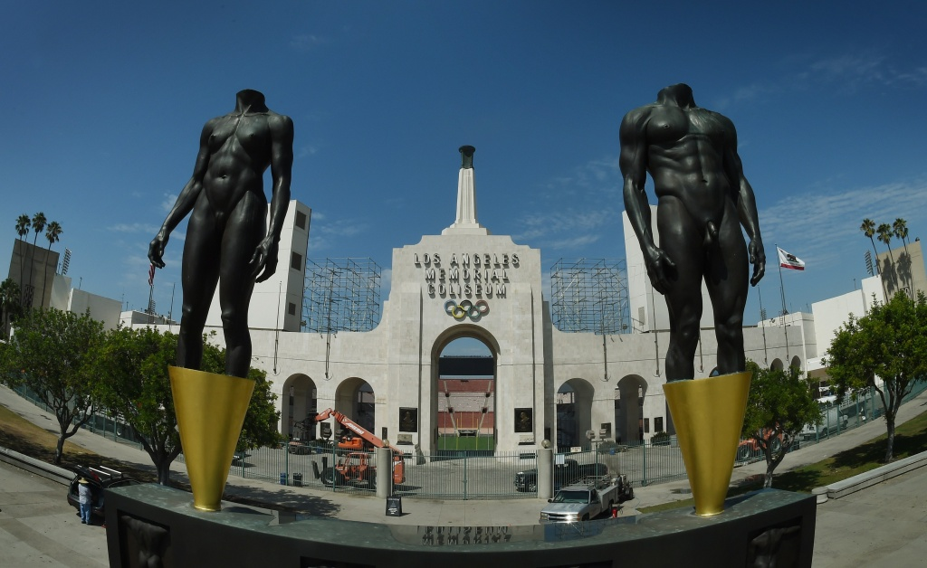The Los Angeles Memorial Coliseum, venue for two previous Olympic Games, is seen in this on August 26, 2015 in Los Angeles, California.