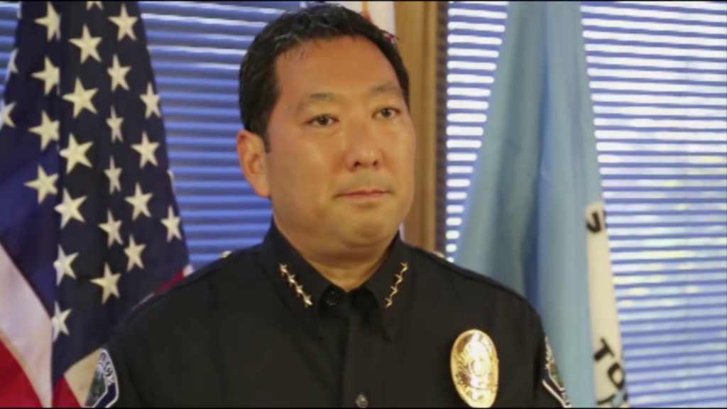 Torrance Police Chief Mark Matsuda in a screenshot of a video from the Torrance Police Department Facebook page.