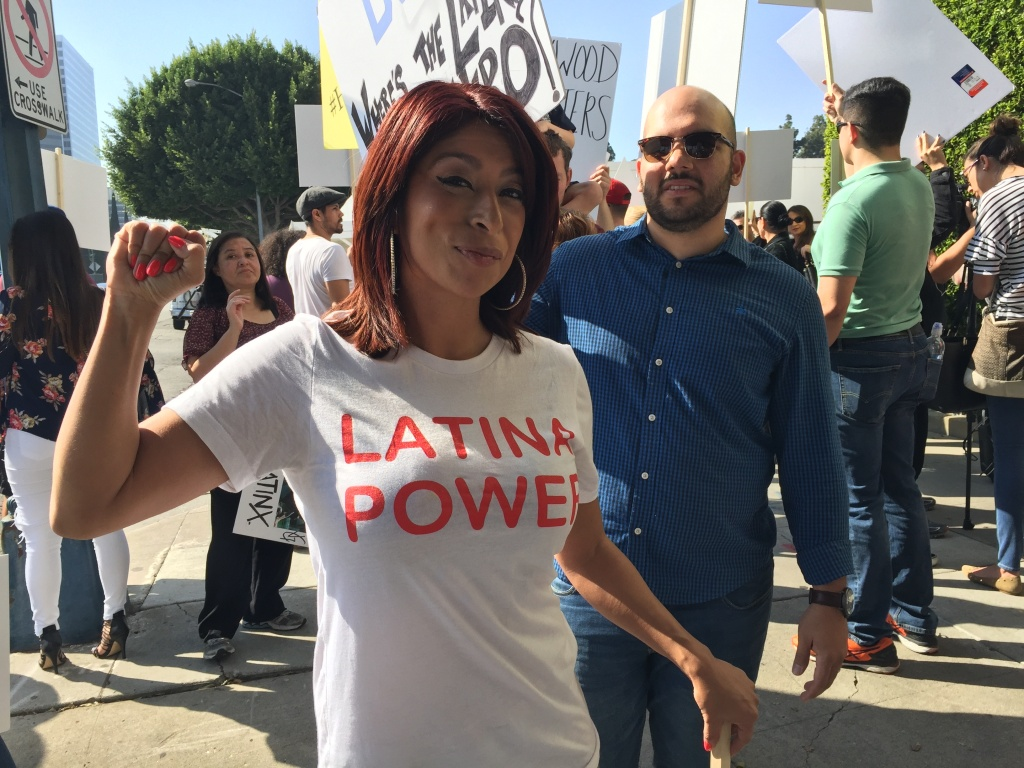 Marissa Herrera was among the 50 protesters calling for more representation for Latinos in Hollywood outside the Beverly Hilton Hotel, where the Academy Awards luncheon was being held.