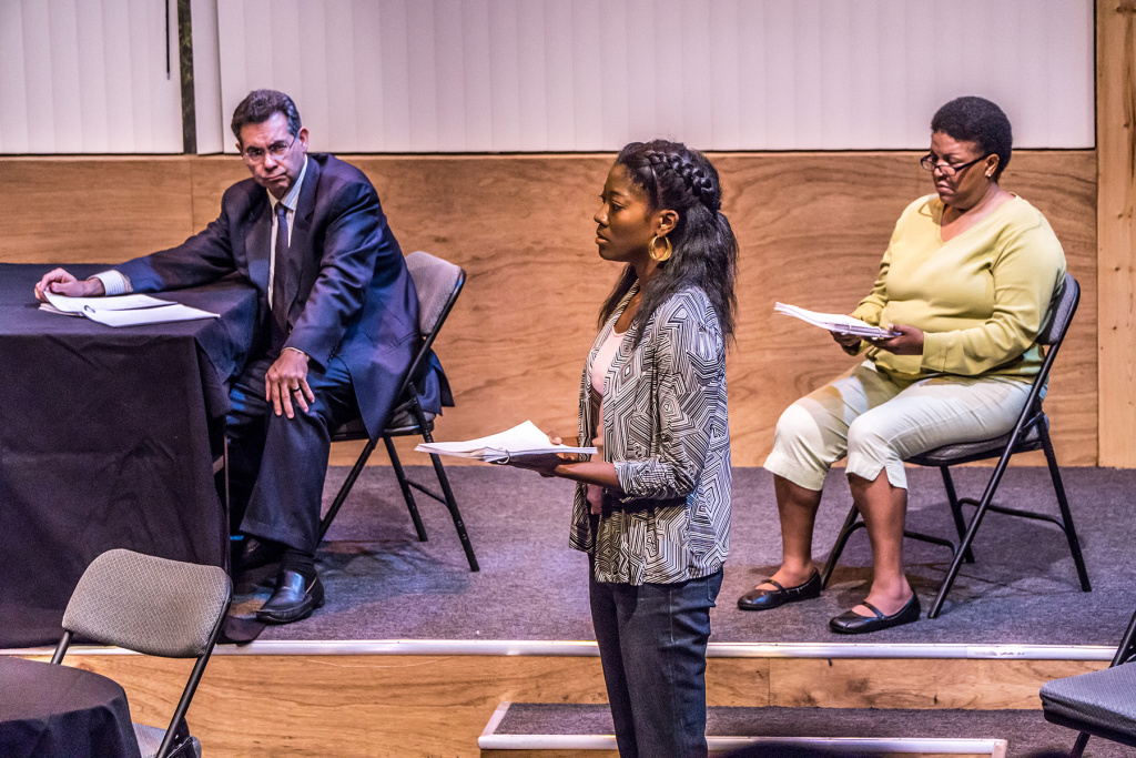 Actors Warren Davis, Sydney A. Mason and Carla Valentine perform 'Ferguson' at the Odyssey Theatre in Los Angeles.