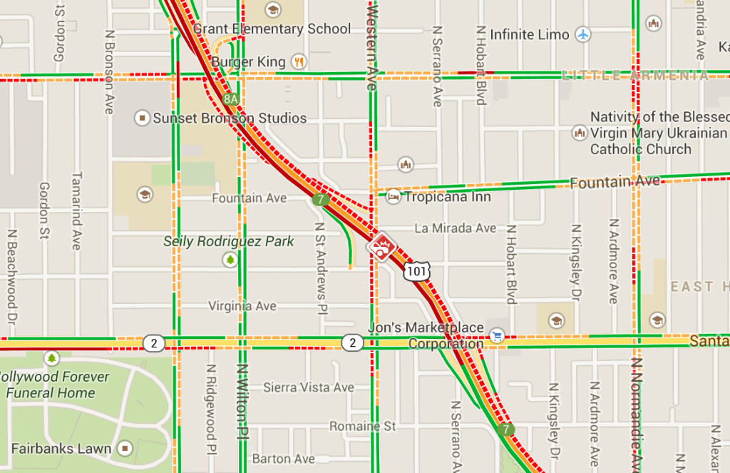 Location of big rig crash on 101 freeway.
