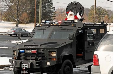 An armored vehicle purchased with anti-terrorism grant funds in Fargo, ND.