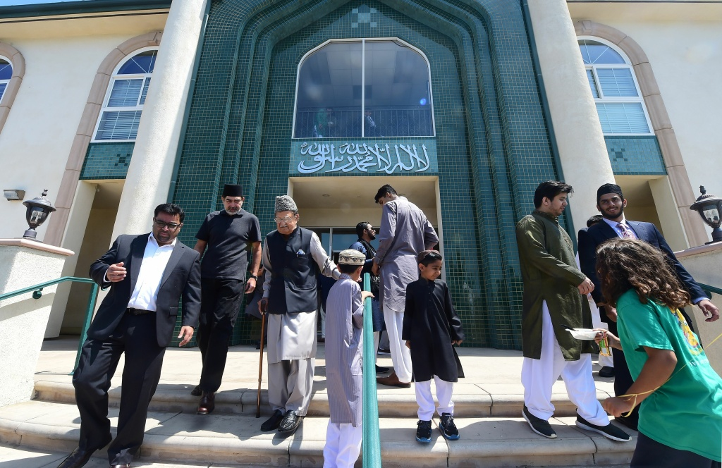 FILE: Muslims attend celebrations for Eid al-Fitr, marking the end of fasting during the month-long Ramadan, at the Baitul Hameed Mosque in Chino, California on July 6, 2016.