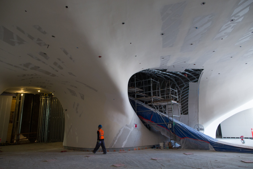 A 105-foot escalator will bring visitors up from Grand Avenue to the gallery space on the third floor of The Broad.