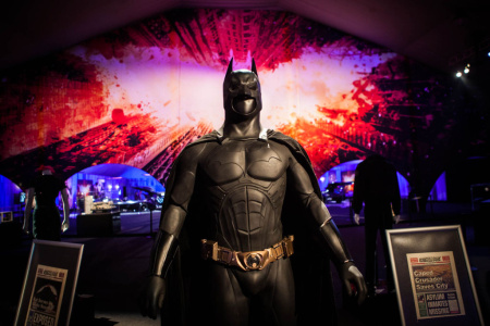 "The Batman suit worn by Christian Bale in ""Batman Begins"" is part of a centerpiece of an exhibit at L.A. Live's Event Deck."