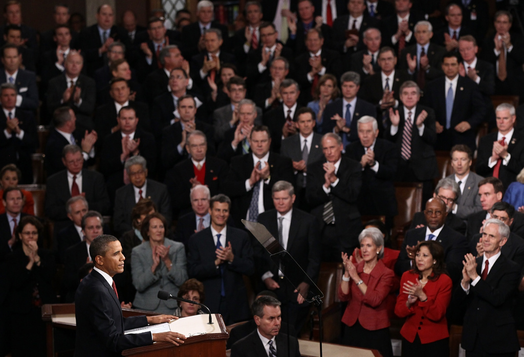 U.S. President Barack Obama delivers his State of the Union address on January 24, 2012 in Washington, DC. Obama said the focal point his speech is the central mission of our country, and his central focus as president, including 'rebuilding an economy where hard work pays off and responsibility is rewarded.'