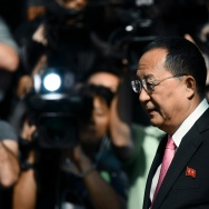 "North Korean Foreign Minister Ri Yong-ho leaves his hotel in New York on September 25, 2017.   US President Donald Trump has ""declared a war"" on North Korea, the country's foreign minister said Monday while conveying a threat to shoot down US bombers."