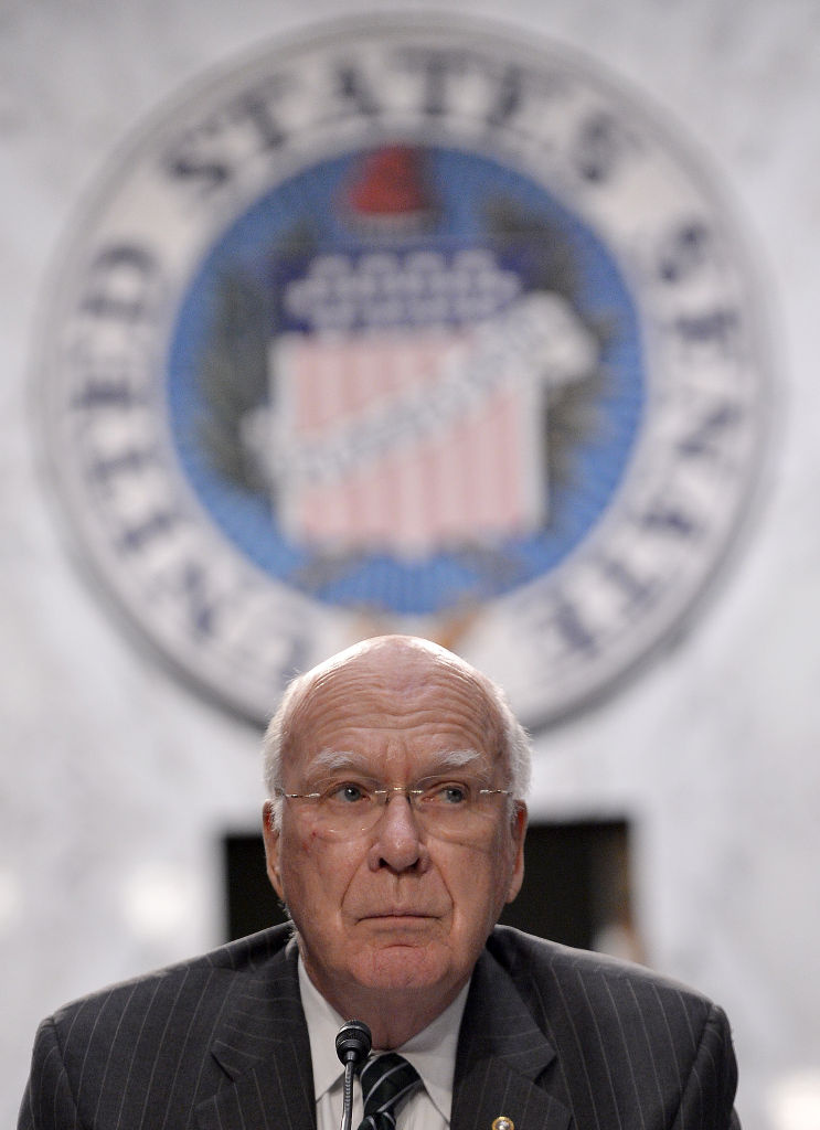 Senate Judiciary Committee Chairman Patrick Leahy holds a hearing on gun control in Washington, D.C., on March 7. The committee has since passed two bills on guns that are headed to the full Senate.