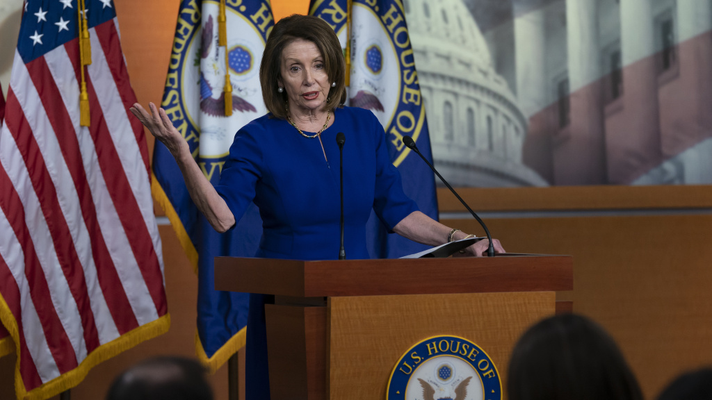 Speaker of the House Nancy Pelosi, D-Calif., meets with reporters during her weekly news conference at the Capitol on Thursday.