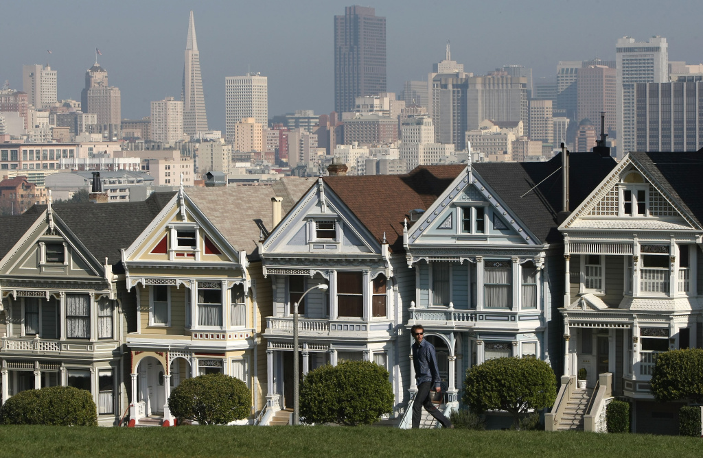 SAN FRANCISCO - FEBRUARY 02:  The famous row of homes known as the