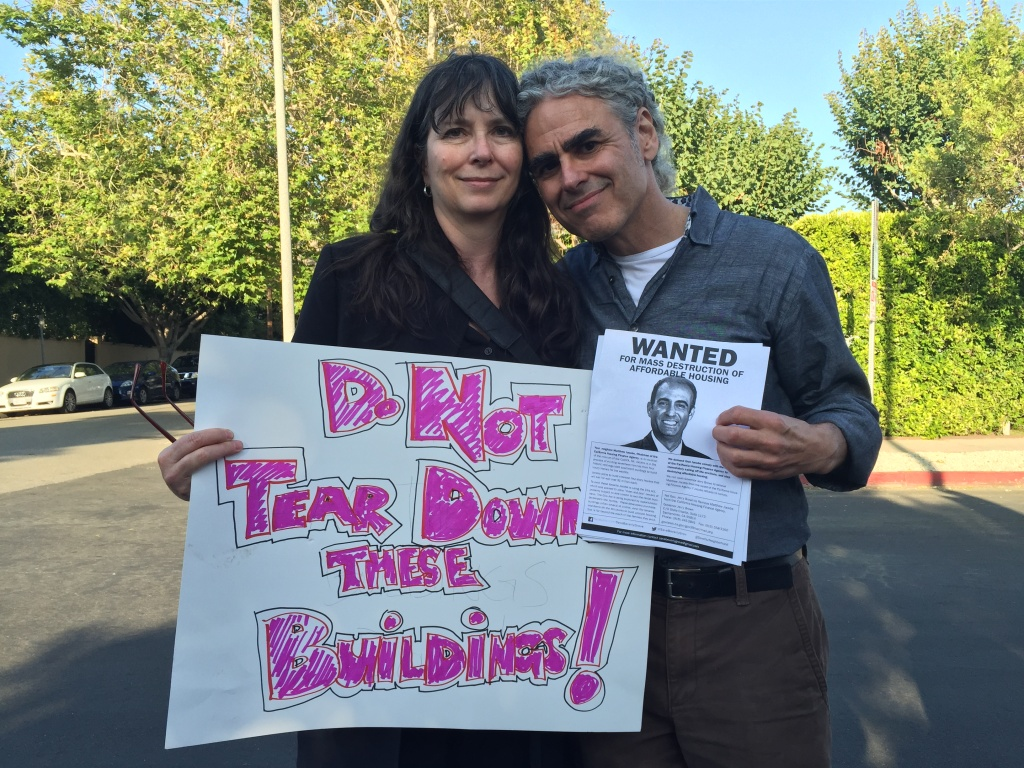 Karen Smalley and Steven Luftman have lived in a rent-controlled apartment in West Hollywood for 18 years. Through the Ellis Act, they're being evicted so their landlord can make way for taller condos.