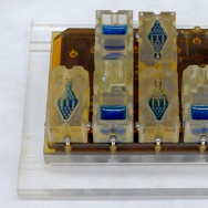 EVATAR is a book-sized lab system that can replicate a woman's reproductive cycle. Each compartment contains living tissue from a different part of the reproductive tract. The blue fluid pumps through each compartment, chemically connecting the various tissues.