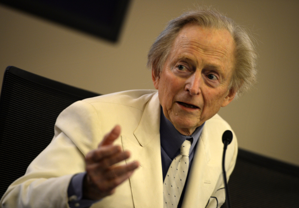 US writer and journalist Tom Wolfe gestures during the presentation of his new book
