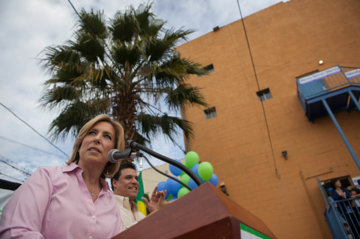 Mayoral Candidate Wendy Greuel speaks at an event in Boyle Heights designed to reach out to Latino voters. The event featured a mariachi group and chants of